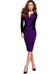 Women's Casual/Daily / Work Simple Bodycon Dress,Patchwork V Neck Knee-length Long Sleeve Purple Polyester Fall / Winter Mid Rise