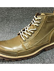 Men's Boots Comfort Cowhide Casual Yellow Khaki