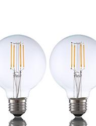 3.5 E26 Lâmpadas de Filamento de LED G80 4 COB 350 lm Branco Quente Regulável AC 110-130 V 2 pçs