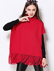 Mujer Regular Pullover Casual/Diario / Tallas Grandes Simple,Un Color Rojo Manga Corta Rayón / Poliéster / Nailon Otoño / Invierno Grueso