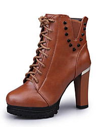 Women's Boots Spring Winter Comfort Leatherette Dress Casual Chunky Heel Beading Zipper Lace-up Black Brown