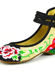 Women's Flats Spring Summer Fall Winter Comfort Espadrilles Fabric Outdoor Casual Flat Heel Buckle Flower Black Green Red Walking