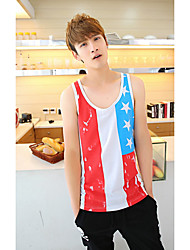Men's Going out / Casual/Daily Simple Tank Top,Print Asymmetrical Sleeveless Multi-color Others