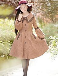 Для женщин На каждый день Для шоппинга Школа Свидание Зима Пальто Квадратный вырез,Элегантный и роскошный Разные цвета ДлиннаяДлинный