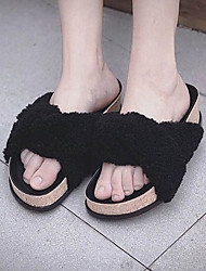 Women's Slippers & Flip-Flops Fall / Winter Slingback Fur Casual Platform Others Black / Green / White Others