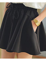 Women's A Line Solid Skirts,Casual/Daily Low Rise Mini Zipper Cotton Micro-elastic Summer