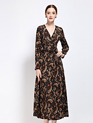 Women's Casual/Daily Boho Sheath Dress,Print V Neck Midi Long Sleeve Acrylic Polyester Spandex Fall Low Rise Inelastic Medium
