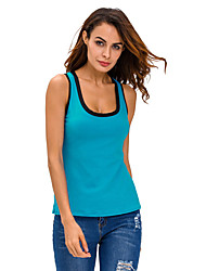 Women's Contrast Trim Lace-up Back Tank Top