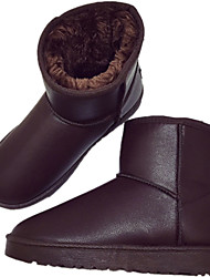 Women's Boots Winter Comfort Leatherette Casual Flat Heel Black Brown
