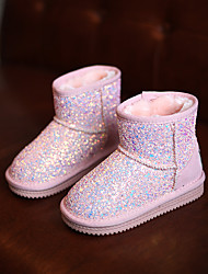 Girl's Boots Winter Comfort Glitter Casual Flat Heel Sparkling Glitter Black Pink Purple Others