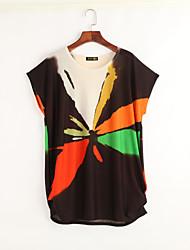 Damen Geometrisch Street Schick Ausgehen T-shirt,Rundhalsausschnitt Sommer Kurzarm Schwarz Kunstseide Dünn