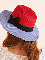 Women Bohemian Summer Stitching Color Collapsible Straw Flat Beach Jazz Cap
