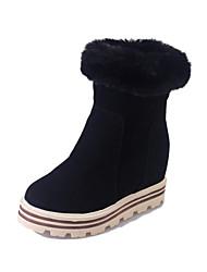 Women's Boots Winter Platform Leather Casual Wedge Heel Platform Split Joint Black Brown Green Walking