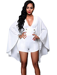 Women's White Gold Buttons Cape Romper