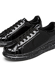 Men's Sneakers Fall Winter Comfort Tulle PU Casual Athletic Flat Heel Lace-up Black Red Silver