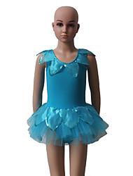 Fantasias Vestidos Mulheres / Crianças Actuação Algodão / Tule / Licra Flor(es) / Amarrotado 1 Peça Sem Mangas Tutus
