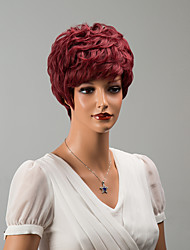 charmoso sem tampa curto perucas de cabelo humano ondulado natural