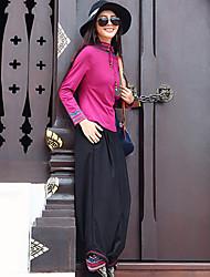 Feminino Solto Chinos Calças-Listrado Casual Boho Bordado Cintura Média Elasticidade Raiom / Poliéster Inelástico Outono