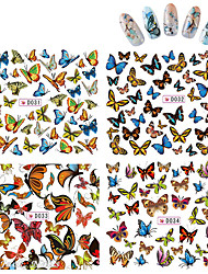 Water Transfer Nail Art Stickers 4pcs/lot Butterfly Design Nail Tips Decals Manicure Styling Nail Tools