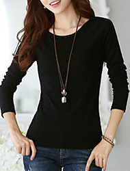 Women's Basic Soft Round Neck Slim T-shirt
