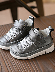 Girl's Sneakers Fall Winter Comfort Leather Casual Flat Heel Magic Tape Black White Silver Others