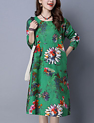 Women's Ethnic Print chic Loose DressFloral Round Neck Midi Long Sleeve Green Cotton / Linen Fall Mid Rise Inelastic Medium