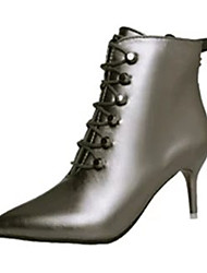 Women's Boots Winter Platform PU Casual Stiletto Heel Lace-up Black / Silver Walking