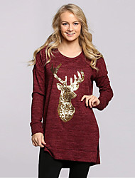 Women's Going out / Casual/Daily Cute / Street chic Spring / Fall T-shirtPrint Round Neck Sequins Long Sleeve Medium