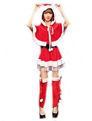 Cosplay Kostuums Kerstmanpakken Film Cosplay Rood Effen Top / Rok / Shawl / Riem / Beenwarmers Kerstmis Vrouwelijk Polyester