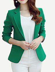 Women's Work Simple Spring Fall Blazer,Solid Notch Lapel Regular Polyester