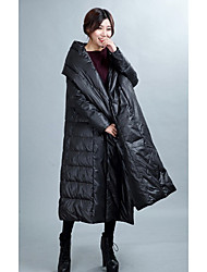 Women's Long Down Coat,Simple / Active Going out / Casual/Daily Solid-Polyester White Duck Down Long Sleeve Hooded Black
