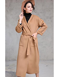 Women's Casual/Daily Simple Coat,Solid Round Neck Long Sleeve Fall / Winter Brown Wool Medium