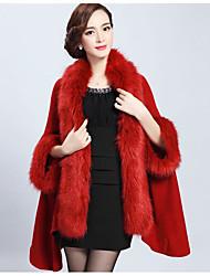 Damen Standard Mantel / Capes-Lässig/Alltäglich Einfach Solide Rot / Schwarz / Lila Kunst-Pelz Herbst / Winter Mittel Unelastisch