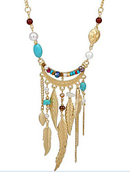 Women's Strands Necklaces Turquoise Crystal Imitation Pearl Resin Alloy Leaf Tassel Bohemian Assorted Color Jewelry Party Daily Casual 1pc