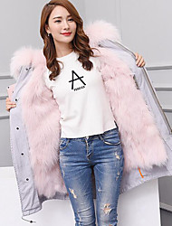 Women's Casual/Daily Simple Fur Coat,Solid Long Sleeve Gray Fox Fur