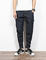 Men's Loose Jeans Pants,Casual/Daily Simple Solid Mid Rise Zipper Cotton Inelastic Fall / Winter