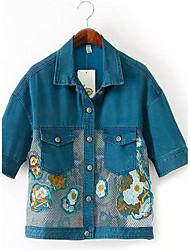 Feminino Jaquetas Jeans Casual Simples Verão,Estampado Azul Algodão Colarinho de Camisa-Manga Curta Fina