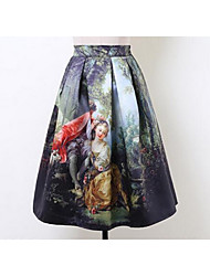 Women's A Line Animal Print Skirts,Going out Mid Rise Midi Elasticity Cotton Micro-elastic Fall
