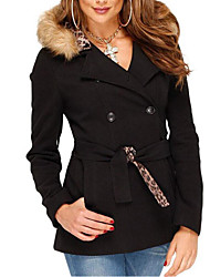 Women's Casual/Daily Sophisticated Coat,Solid Hooded Long Sleeve Fall / Winter Black Cotton