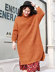 Damen Lang Pullover-Lässig/Alltäglich Einfach Solide Schwarz Orange Rollkragen Langarm Wolle Acryl Winter Mittel Unelastisch