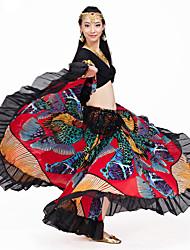 Dança do Ventre Roupa Actuação Algodão Cristal Amarrotado 2 Peças Luva de comprimento de 3/4 Caído Saia / Top