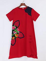 Ample Robe Femme Décontracté / Quotidien Vintage,Fleur Col Arrondi Asymétrique Manches Courtes Bleu Rouge Coton Lin Eté Taille NormaleNon