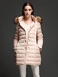 ANGEL Women's Regular Padded CoatSimple Casual/Daily Solid-Nylon Polypropylene Long Sleeve Hooded Pink
