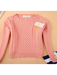Damen Kurz Pullover-Lässig/Alltäglich Einfach Solide Blau Rosa Beige Rundhalsausschnitt Langarm Acryl Frühling Herbst Mittel