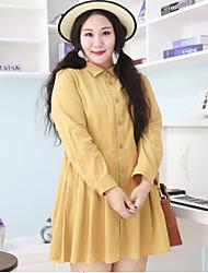 Feminino Camisa Vestido,Casual / Tamanhos Grandes Simples Sólido Colarinho de Camisa Acima do Joelho Manga Longa Amarelo AlgodãoPrimavera