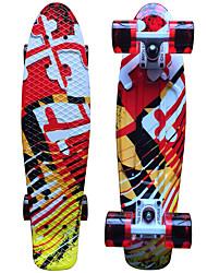 Standard-Skateboards 22 Zoll Abec-11-Weiß Schwarz Rot/gelb