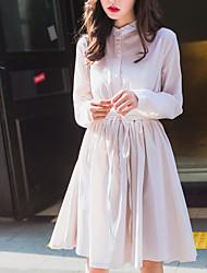 Feminino Camisa Vestido,Informal Fofo Sólido Colarinho Chinês Acima do Joelho Manga Longa Rosa / Branco Algodão Primavera / OutonoCintura