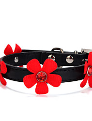 Cat / Dog Collar Adjustable/Retractable Solid / Rhinestone / Flower Red / Black / Pink / Rose PU Leather