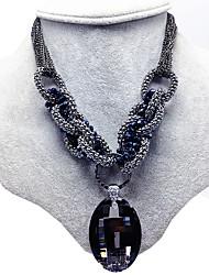 Women's Pendant Necklaces Rhinestone Rhinestone Oval Circular Dangling Style Fashion Gray Jewelry Wedding Party Daily 1pc