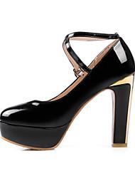 Feminino-Saltos-Sapatos com Bolsa Combinando-Salto Grosso-Preto / Vermelho / Branco-Courino-Casual / Festas & Noite